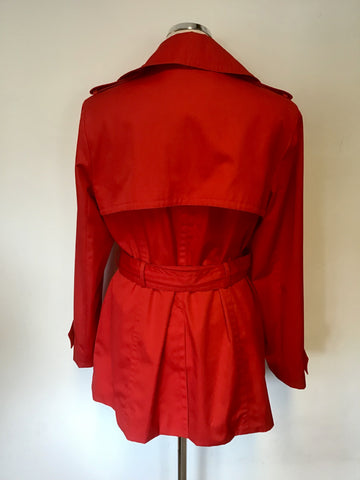 ANNE KLEIN RED BELTED MAC SIZE M