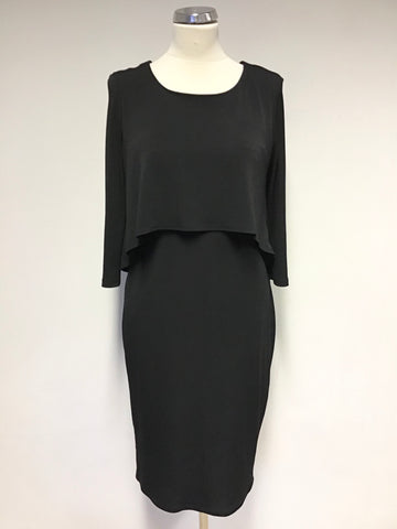 PHASE EIGHT BLACK OVER LAYERED TOP PENCIL DRESS SIZE 12