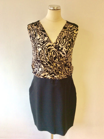 REISS BLACK & BEIGE SILK TOP SPECIAL OCCASION DRESS SIZE 14