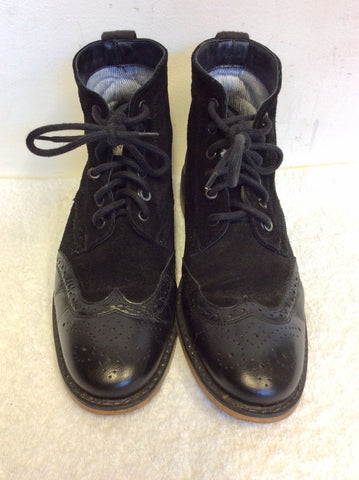 UNIZE BLACK SUEDE & LEATHER BROGUE LACE UP BOOTS SIZE 7/40
