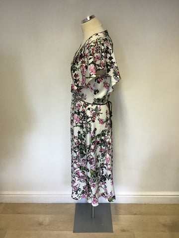 BRAND NEW PHASE EIGHT WHITE WITH FLORAL PRINT DRESS SIZE 14