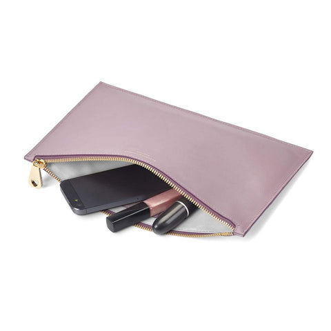 BRAND NEW IN BOX ASPINAL LEATHER ESSENTIAL FLAT POUCH/CLUTCH IN LILAC CROC