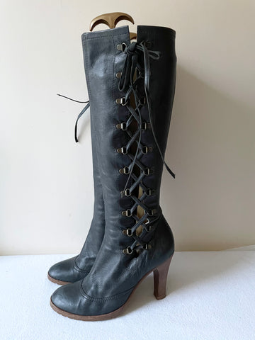 MARC JACOBS DARK GREY LEATHER LACE UP KNEE LENGTH HEELED BOOTS SIZE 6/39