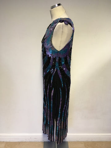 SERENADE BLACK SILK WITH PURPLE & GREEN SEQUINS COCKTAIL DRESS SIZE M