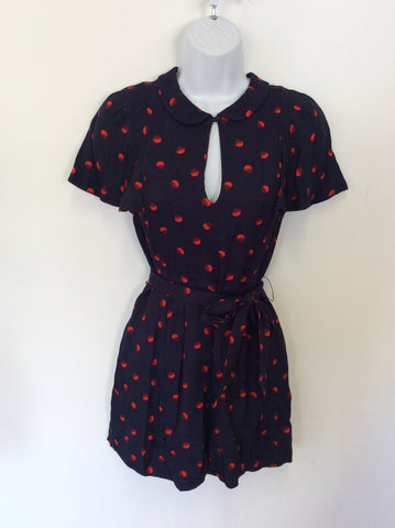 BRAND NEW JACK WILLS NAVY BLUE & RED SPOT PLAYSUIT SIZE 8