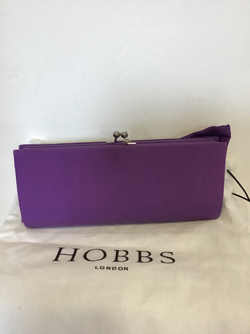 HOBBS PURPLE BOW TRIM COTTON & SILK CLUTCH / SHOULDER BAG