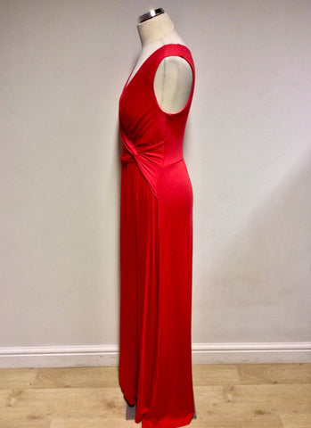 PHASE EIGHT RED STRETCH JERSEY LONG MAXI DRESS SIZE 12