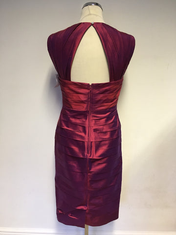 BRAND NEW JOHN CHARLES CHERRY SILK YARN PENCIL DRESS & BOLERO JACKET SIZE 10