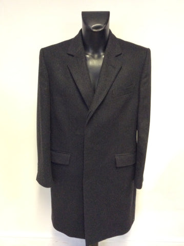 PAUL COSTELLOE DARK CHARCOAL GREY WOOL & CASHMERE COAT SIZE 40R