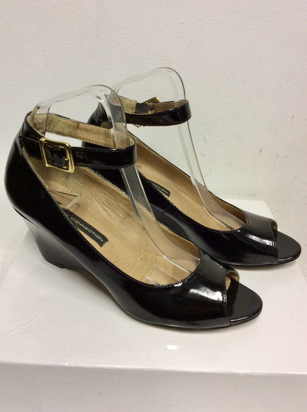 FRENCH CONNECTION BLACK PATENT PEEPTOE ANKLE STRAP WEDGE HEELS SIZE 6/39
