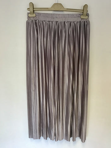 ABRCROMBIE & FITCH SILVER GREY PLEATED ELASTICATED WAIST SKIRT SIZE S