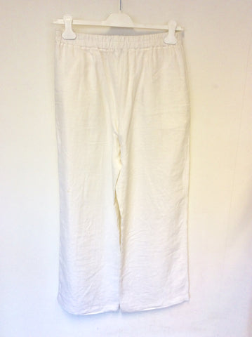 OSKA WHITE LINEN WIDE LEG TROUSERS SIZE II REGULAR UK 14/16