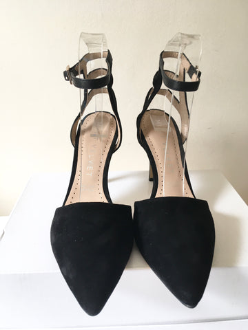 BRAND NEW MINT VELVET BLACK SUEDE & LEATHER CAGE BACK ANKLE STRAP HEELS SIZE 4/37