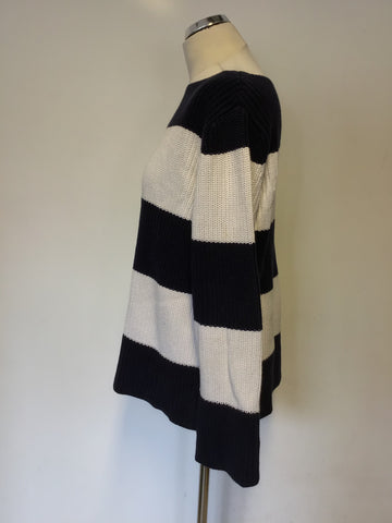 RALPH LAUREN NAVY BLUE & WHITE STRIPE COTTON JUMPER SIZE M