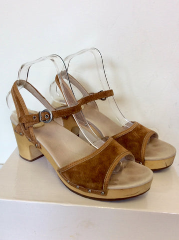UGG OLIANA TAN BROWN SUEDE LEATHER CLOG SANDALS SIZE 7.5/40