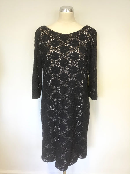 GINA BACCONI NAVY BLUE LACE & CREAM LINED SPECIAL OCCASION DRESS SIZE 18