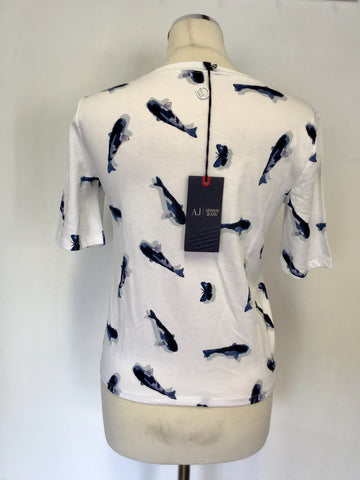 BRAND NEW ARMANI JEANS WHITE DOLPHIN PRINT T SHIRT SIZE 40 UK 10