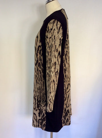 BRAND NEW BARBARA LEBEK BLACK & BROWN PRINT STRETCH DRESS SIZE 20
