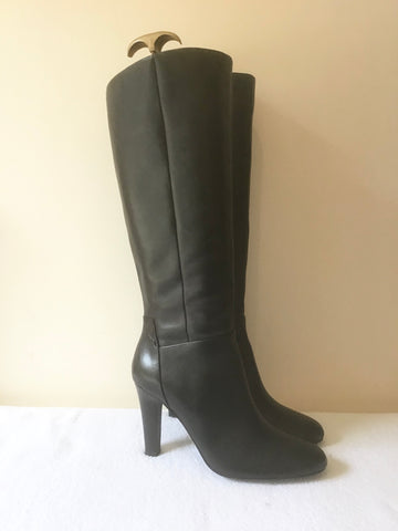 MARKS & SPENCER AUTOGRAPH BLACK LEATHER KNEE LENGTH HEELED BOOTS SIZE 7/40