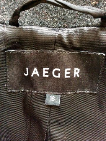 BRAND NEW JAEGER CHARCOAL DARK GREY WOOL TIE BELT COAT SIZE 16
