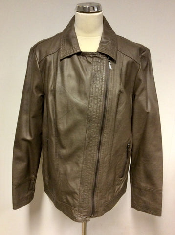 BRAND NEW JOHN ROCHA BROWN FAUX LEATHER JACKET SIZE 18