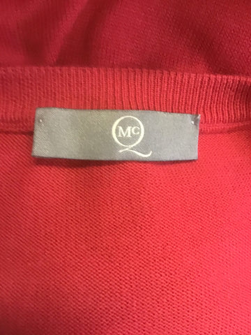 MCQ ALEXANDER MCQUEEN RED COTTON V NECK JUMPER SIZE L