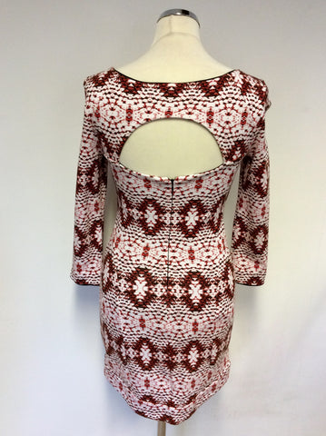 ARMANI EXCHANGE RED,WHITE & BLACK PRINT CUT OUT BACK DRESS SIZE 6