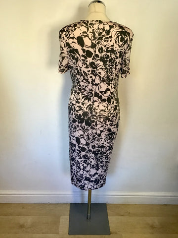 LAURA ASHLEY PINK & GREY FLORAL PRINT SHORT SLEEVE DRESS SIZE 14