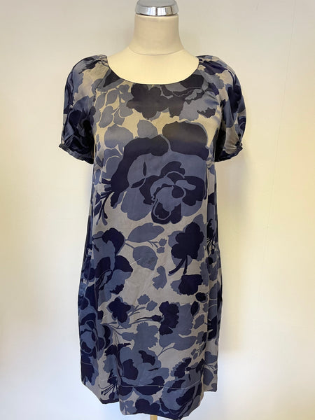 WHISTLES BLUE FLORAL PRINT SILK SHORT SLEEVE SHIFT DRESS SIZE 8