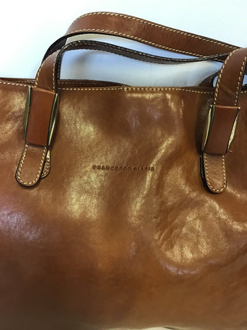 FRANCESCO BIASIA TAN LEATHER SHOULDER BAG