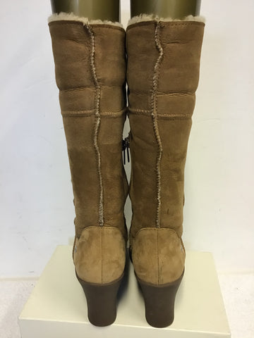 UGG JOSLYN 1889 TAN SUEDE,SHEEPSKIN LINED WEDGE HEEL BOOTS SIZE 6.5 / 41uk 1#