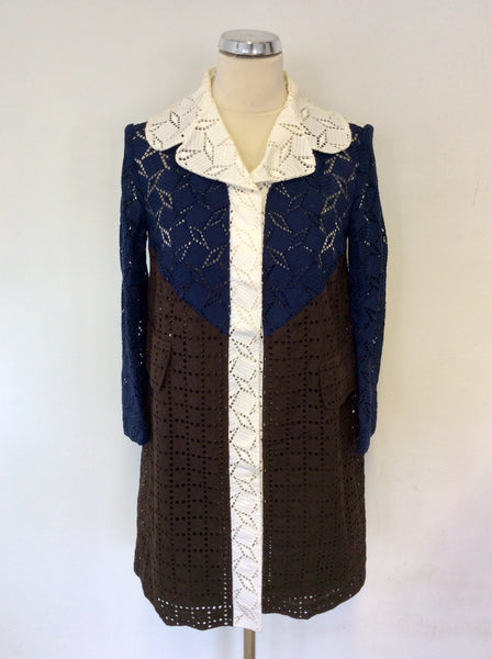 LOUIS VUITTON 2013 WHITE,NAVY BLUE & BROWN BROIDERY ANGLAISE LONG JACKET SIZE 36 UK 10