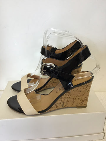 STACCATO BLACK PATENT & CREAM WEDGE HEEL SANDALS SIZE 5/38