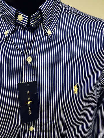 BRAND NEW RALPH LAUREN DARK BLUE & WHITE PINSTRIPE SHIRT SIZE M