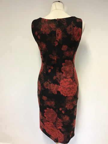 PHASE EIGHT RED & BLACK FLORAL PRINT WOOL BLEND PENCIL DRESS SIZE 10