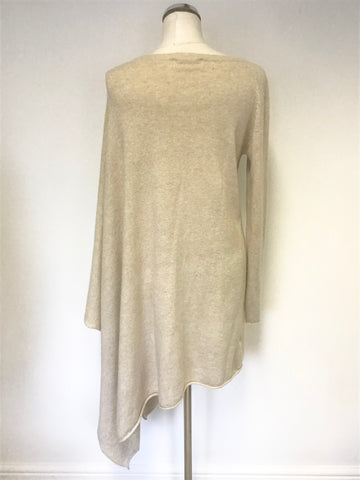 AXARA PARIS BEIGE LONG ASYMETRIC OVERSIZE PONCHO WITH ONE SLEEVE SIZE M