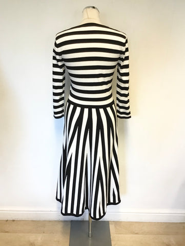 KAREN MILLEN BLACK & WHITE STRIPED 3/4 SLEEVE DRESS SIZE M