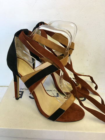 BRAND NEW OFFICE BROWN & BLACK SUEDE PATCHWORK ANKLE TIE HEEL SANDALS SIZE 5/38