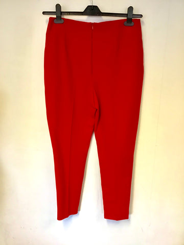 LK BENNETT RED CIGARETTE PANTS SIZE 10 EX SAMPLE