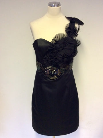 BRAND NEW AFTERSHOCK BLACK BEADED ONE SHOULDER COCKTAIL DRESS SIZE M UK 12