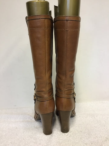 RIVER ISLAND TAN LEATHER BUCKLE TRIM BOOTS SIZE 7/40