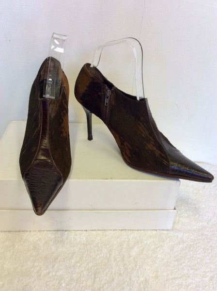 ITALIAN ADRIANA V CAMPANILA BROWN LEATHER & PONYSKIN HEELS SIZE 4.5/37.5
