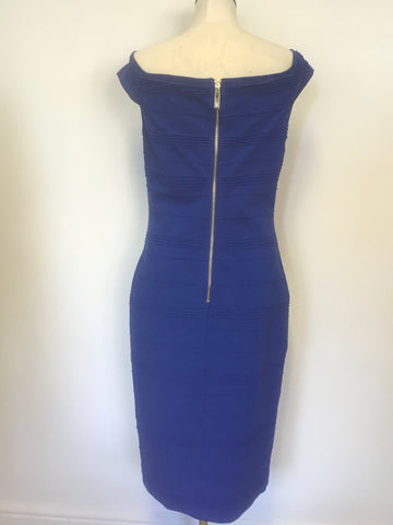 TED BAKER BLUE STRETCH OFF SHOULDER BARDOT STRETCH BODYCON DRESS SIZE 4 UK 14