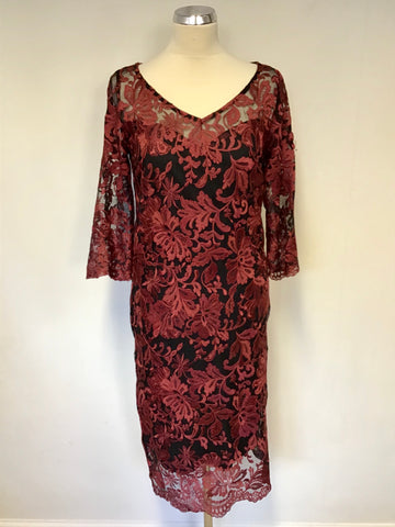 PER UNA BLACK & DARK RED LACE 3/4 SLEEVE SPECIAL OCCASION DRESS SIZE 10