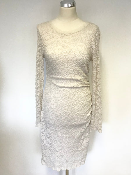 PHASE EIGHT IVORY LACE LONG SLEEVE STRETCH PENCIL DRESS SIZE 10