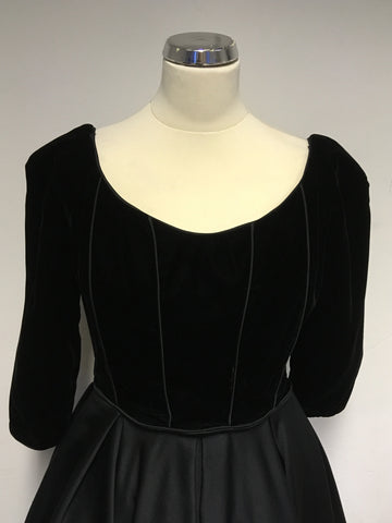 VINTAGE DESIGNER VICTOR COSTA FOR HARVEY NICHOLS BLACK VELVET BODICE EVENING DRESS SIZE 10