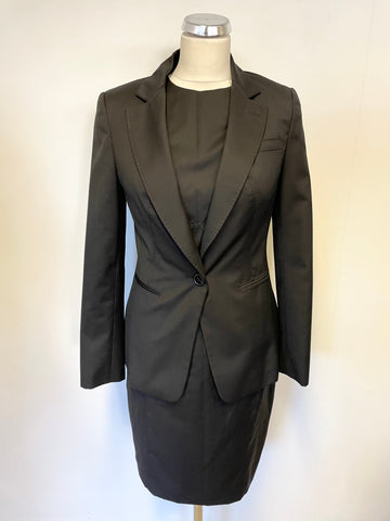 TED BAKER BLACK WOOL BLEND TAILORED JACKET & MATCHING PENCIL DRESS SIZE 2 UK 10