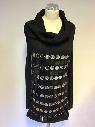 GIL BRET BLACK SILVER MIRRORED & BLACK EMBELLISHED ROLL NECK LONG JUMPER SIZE 1