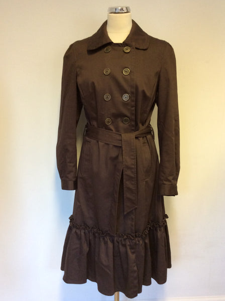MARKS & SPENCER BROWN FRILL TRIM BELTED TRENCH COAT / MAC SIZE 12