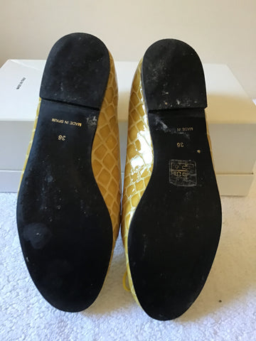 FRENCH SOLE BY JANE WINKWORTH YELLOW CROC PRINT BALLERINA FLATS SIZE 3.5/36